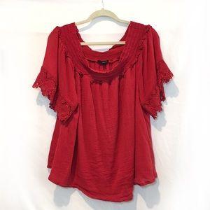 Red Peep Shoulder blouse